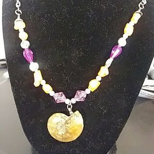 Coral and purple beaded necklace